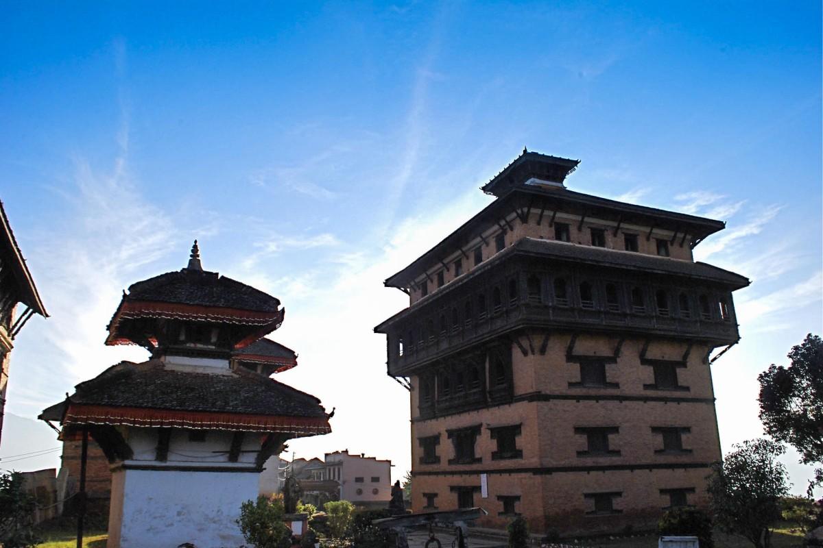 The temple of Hindu god Narayan next to Nuwakot Palace.