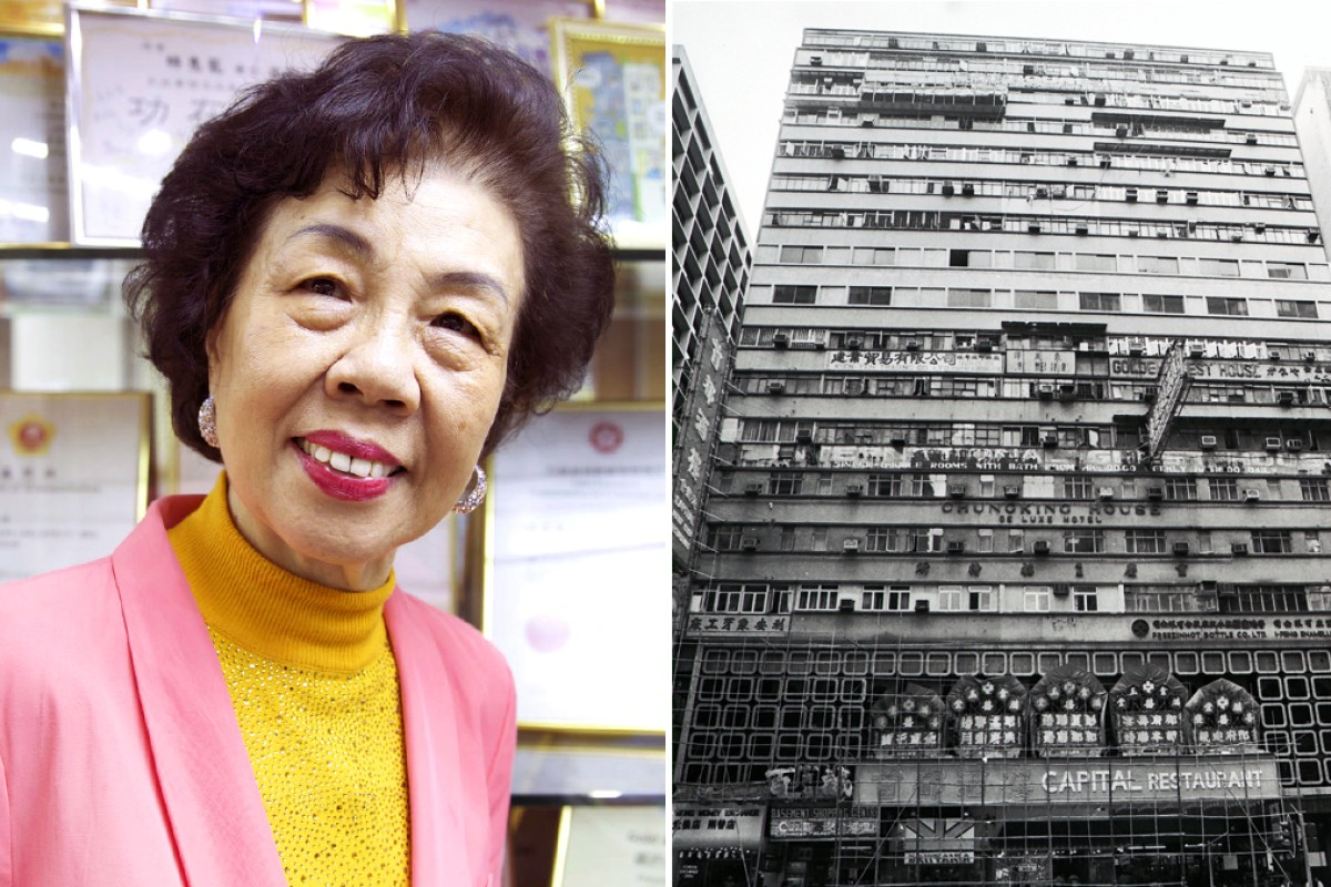 Lam Wai-lung became the chairwoman of the Owners' Corporation of Chungking Mansions in 1993; Chungking Mansions in 1985. Photos: Vicky Feng, SCMP