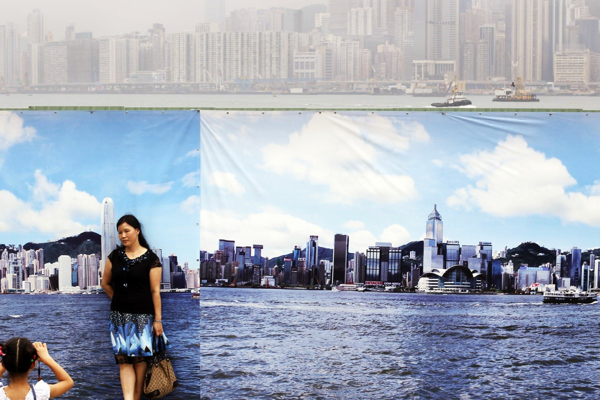 "A banner showing an idyllic harbour view belies the true picture behind. The air-pollution index on that day, August 22 last year, was at ""very high"", with the city blanketed in haze. Photos; Sam Tsang; May Tse; K.Y. Cheng; David Wong; AFP; Will Hayward/courtesy of the Haywood family; courtesy of the Brinner family"