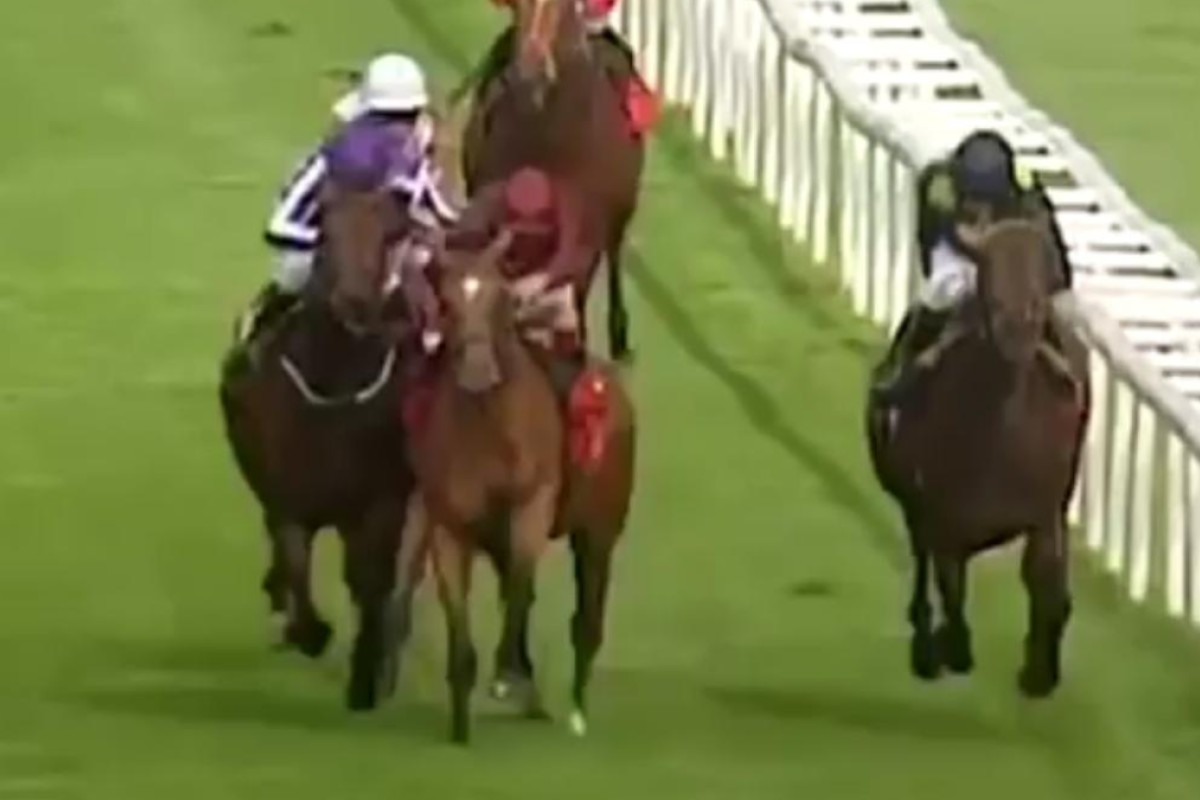 Simple Verse and Bondi Beach lock horns in the closing stages of the St Leger at Doncaster. Photo: Youtube