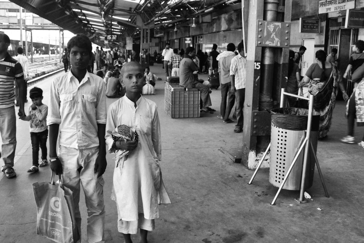Karan (left) and Omair at New Delhi railway station.