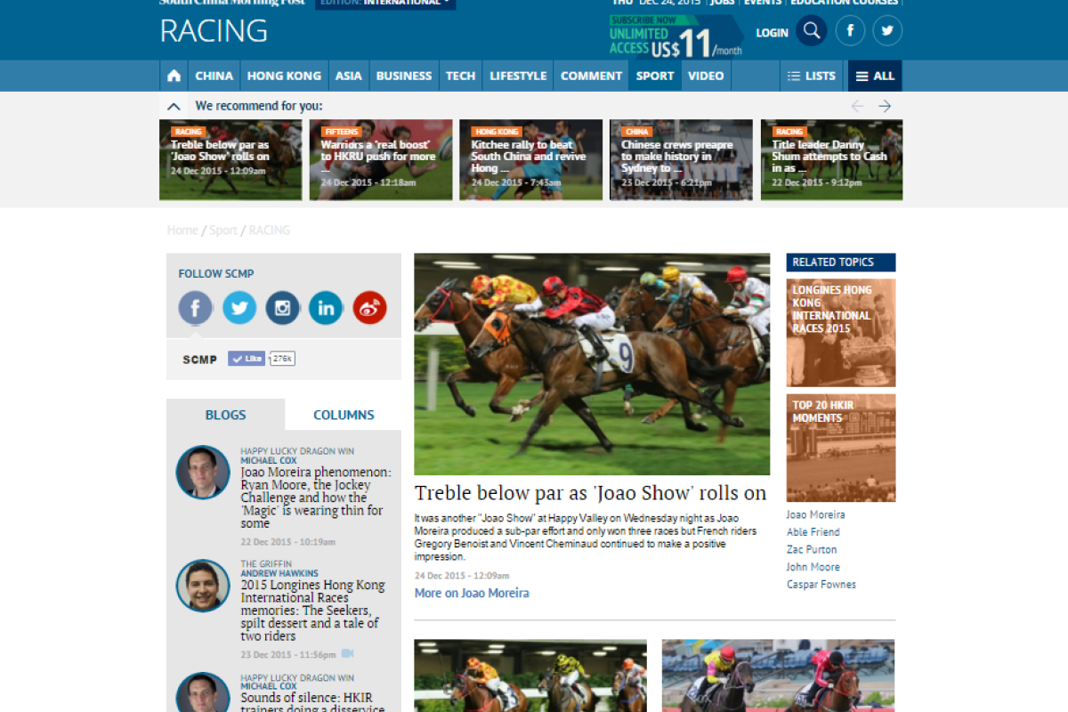 It's been a big year for racing and the South China Morning Post has been across it all. What have been the stories that have caught your attention?