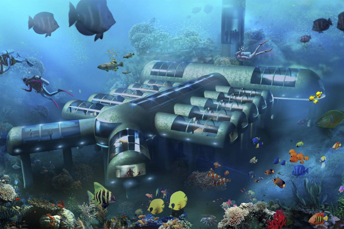 An artists impression of The Planet Ocean Underwater Hotel