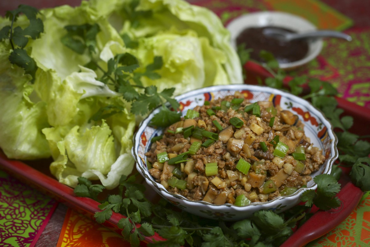 Minced dried oysters, pork and vegetables in lettuce cups. Photography: Jonathan Wong