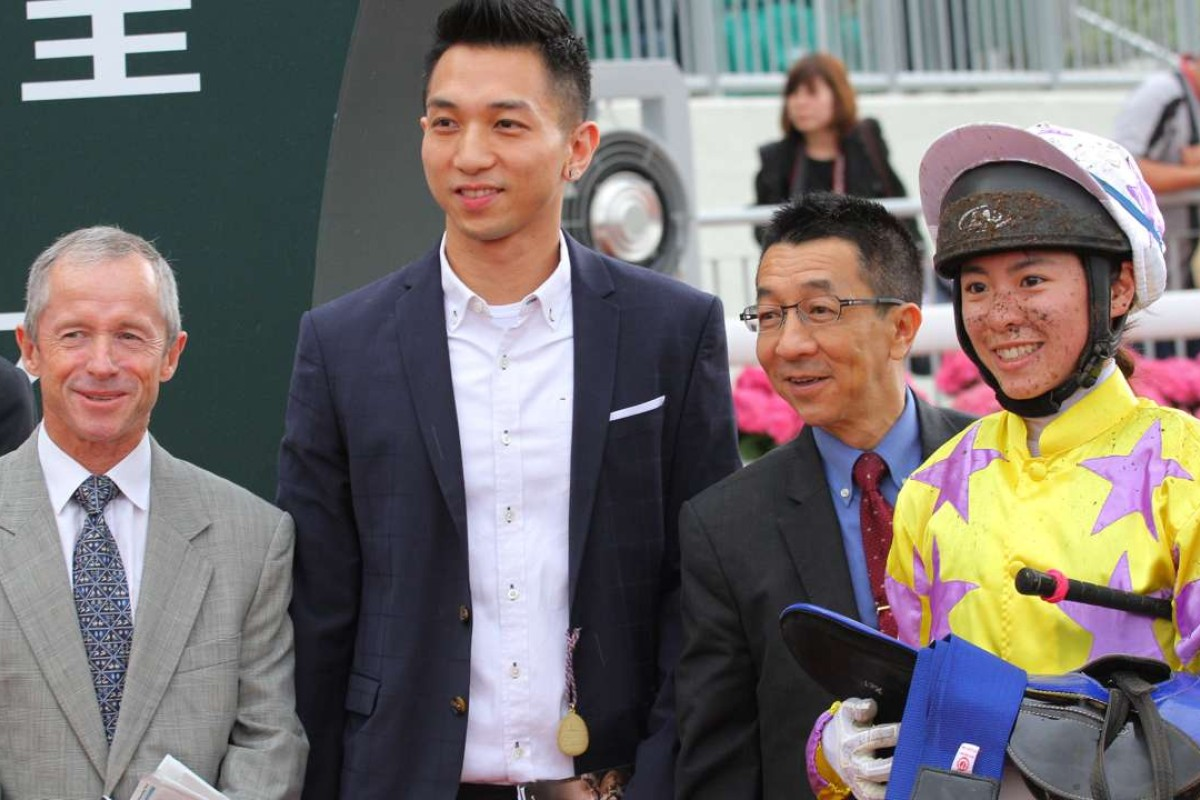 Felix Coetzee joins in the celebrations with connections of Noble De Boy after Kei Chiong's 16th win of the season. Photos: Kenneth Chan