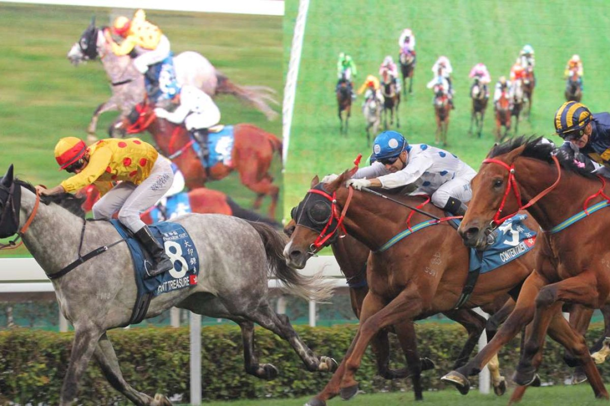 Giant Treasure beats Luger (right) and Contentment in the Stewards' Cup (1,600m) at Sha Tin in January. Photos: Kenneth Chan