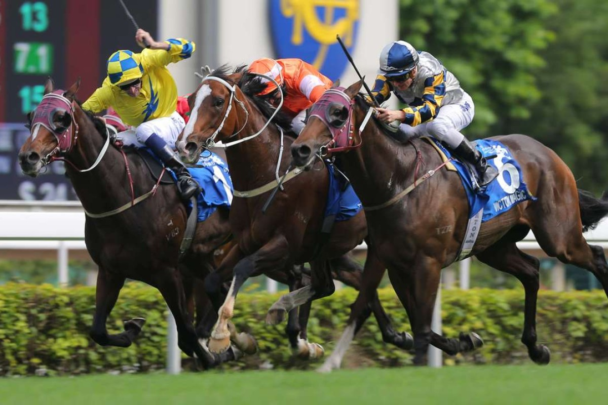 Blazing Speed (middle) just holds off Victory Magic (outside) to win the Champions & Chater Cup, with Werther tenaciously holding down third. Photo: Kenneth Chan