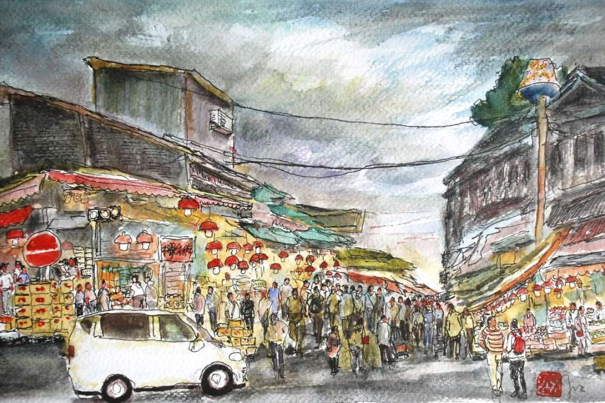 Night Scene of Yau Ma Tei Fruit Market, by Yip Suen-fat.