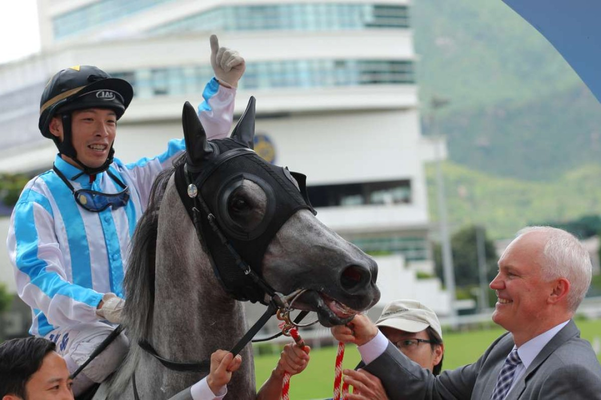 Ben So celebrates winning aboard Argentum to complete a double for trainer David Hall at Sha Tin on Friday. Photos; Kenneth Chan