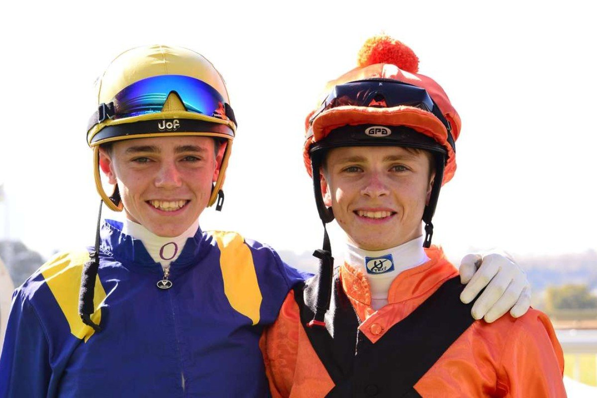 Callan Murray (left) and Lyle Hewitson are two of the rising stars in South Africa, with the teenage jockeys hoping to one day ride in Hong Kong. Photo: Carol Grobler/JC Photographics