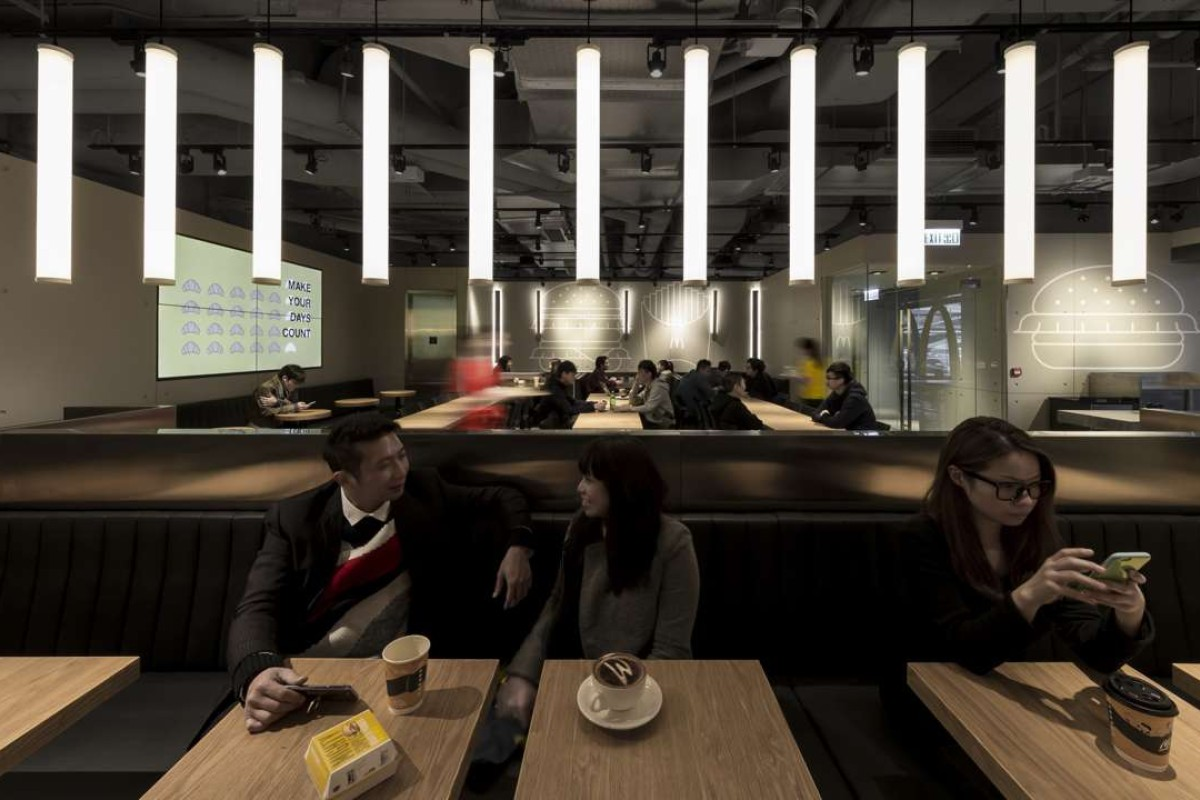 Interior of McDonald's in Admiralty, designed by Landini Associates. The lighting dims at night to induce relaxation. Photo courtesy Landini Associates.