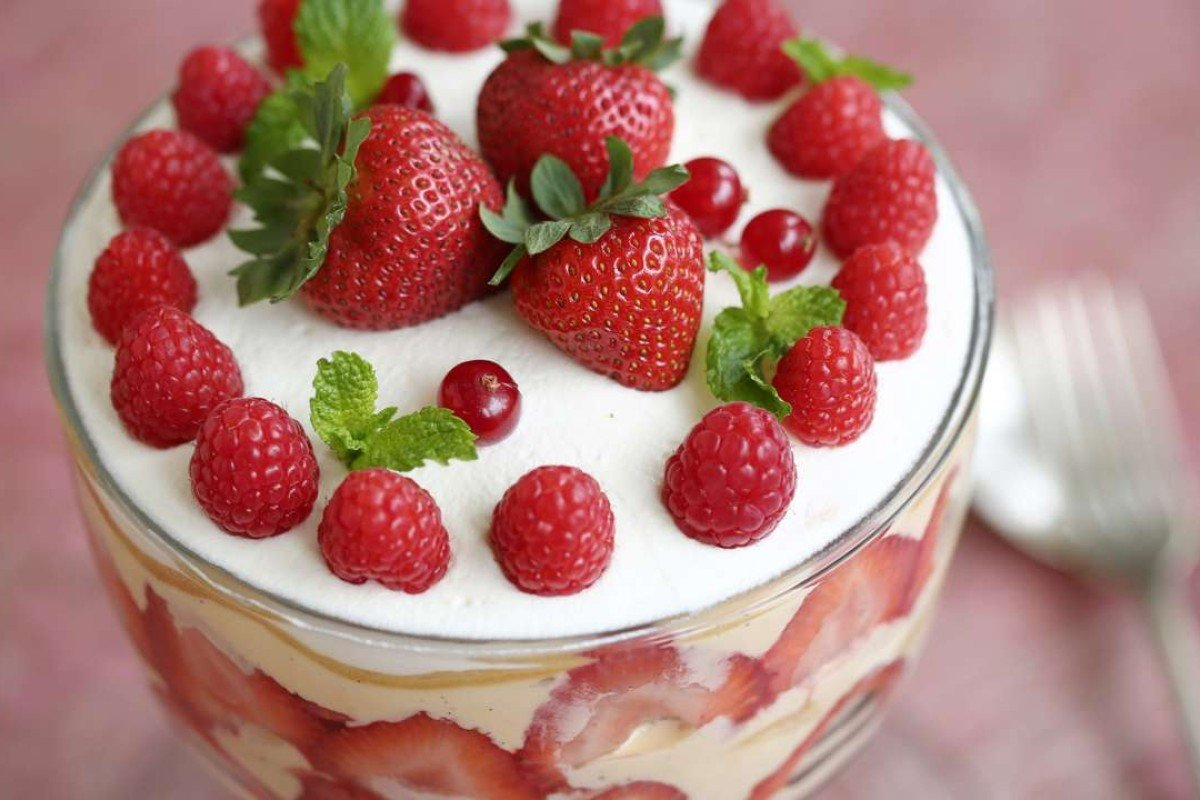 Strawberry trifle with home-made ladyfingers. Photography: Jonathan Wong