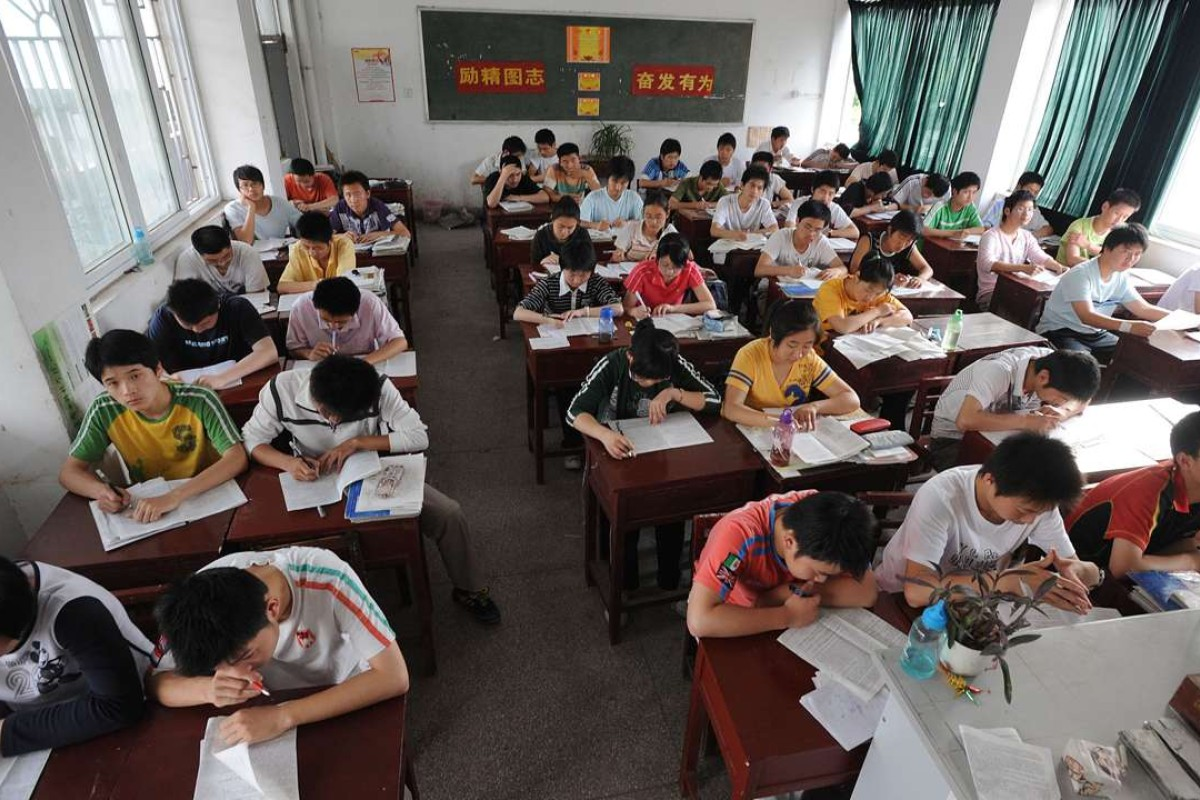 "Students in Anhui province prepare to take China's national college entrance examination. In his latest book, Han Han blasts the Chinese education system and its teachers as ""terrible"". Picture: AFP"