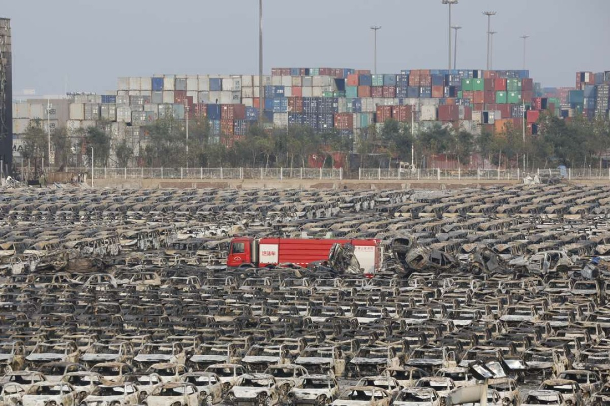 Brand new motor vehicles destroyed by the explosion in the Binhai New District of Tianjin in August 2015. Photo: China Foto Press