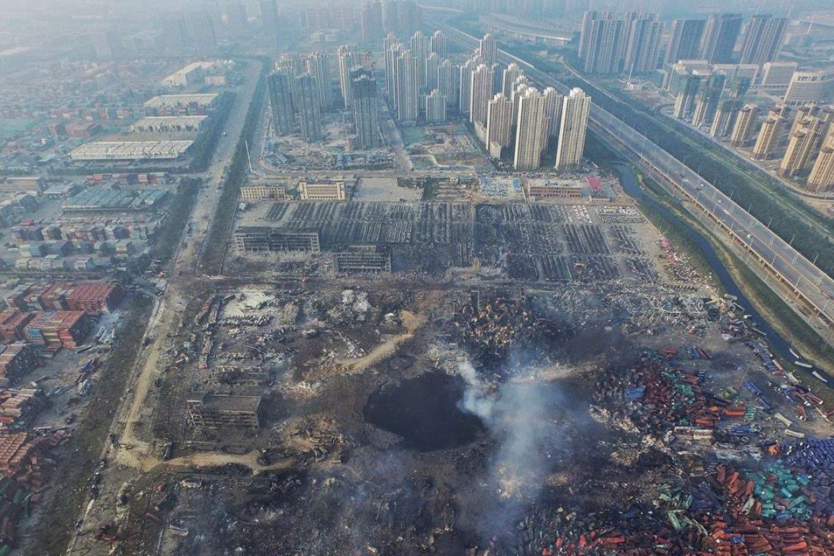 An aerial view of the aftermath of the huge explosions and fire that rocked the port city of Tianjin, China, in August 2015. Photo: EPA