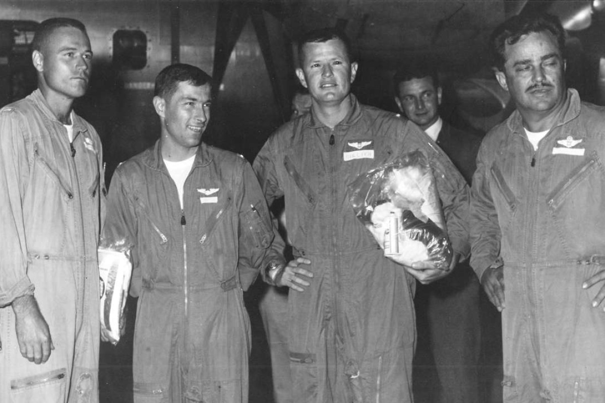 The four survivors of the US Air Force's B-52 plane crash into the South China Sea during the Vietnam war were (from left) lieutenants James Erbes, Don Harten and Jay Collier and lieutenant colonel Chuck Andermann.