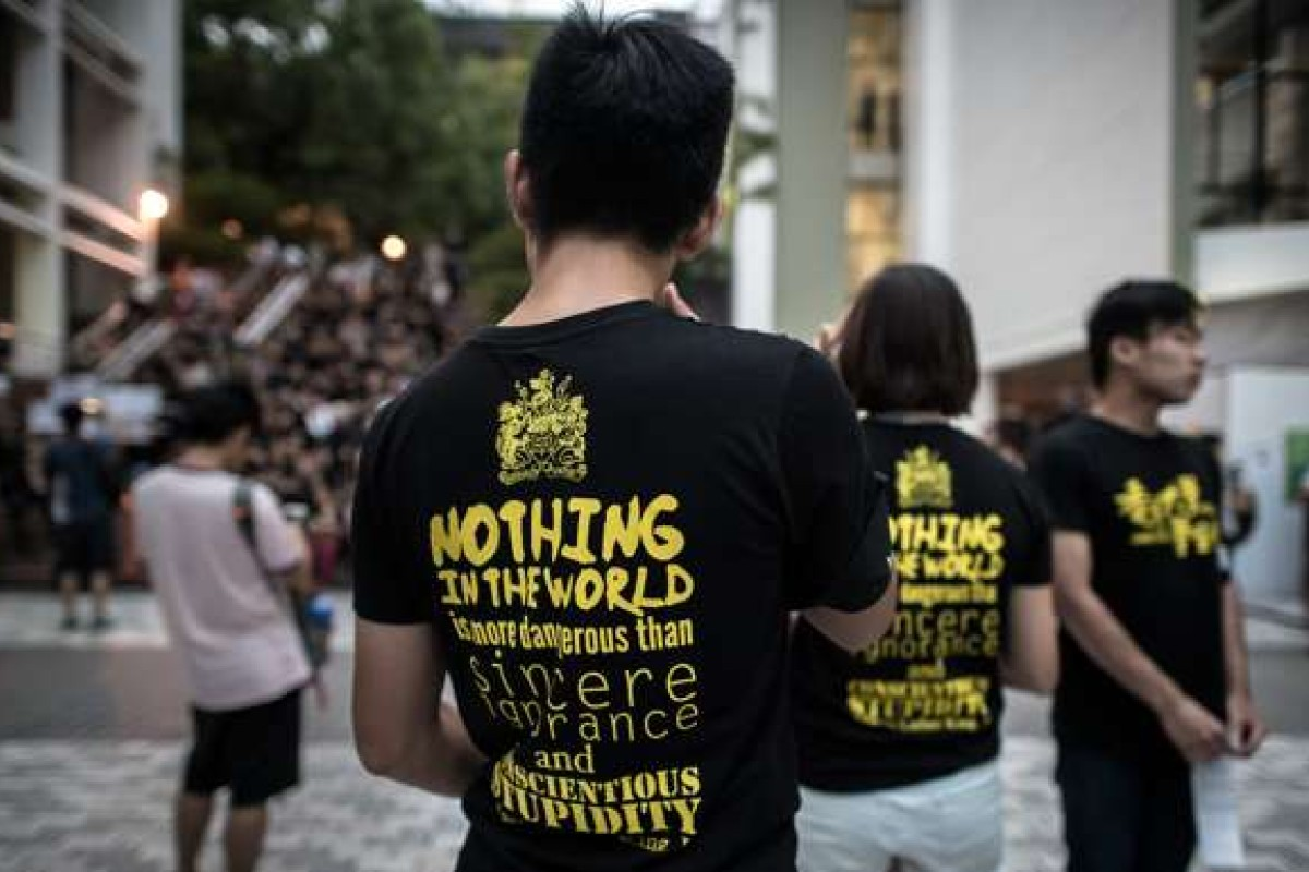 Students gather to call for academic freedom at Hong Kong University last year. Photo: AFP