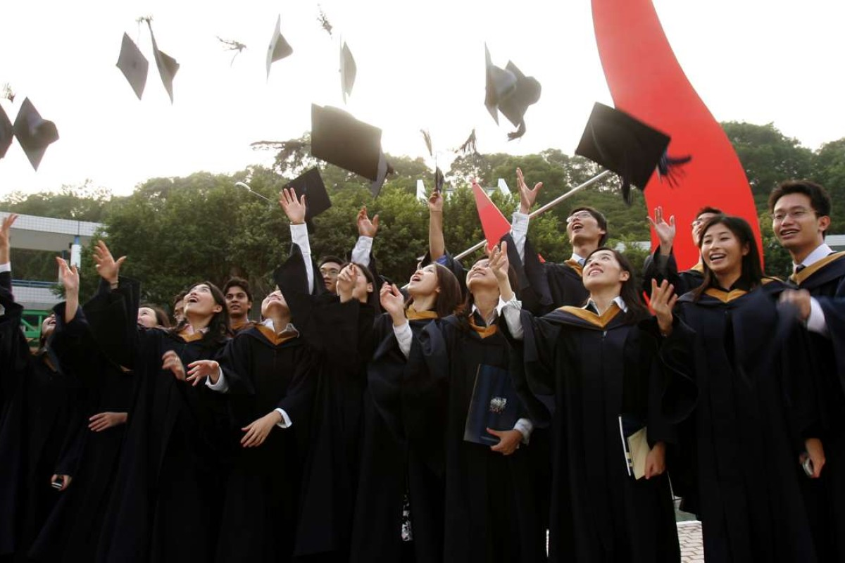 HKUST Business School students celebrate their graduation. The university scored among the best in the world in both the THE and QS rankings. File photo