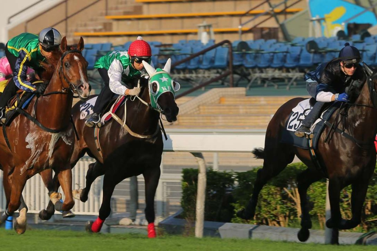 Pakistan Star and Matthew Chadwick (middle) finish third to Blizzard (Joao Moreira, right) and Bad Boy (Sam Clipperton) in their trial at Sha Tin. Photos: Kenneth Chan