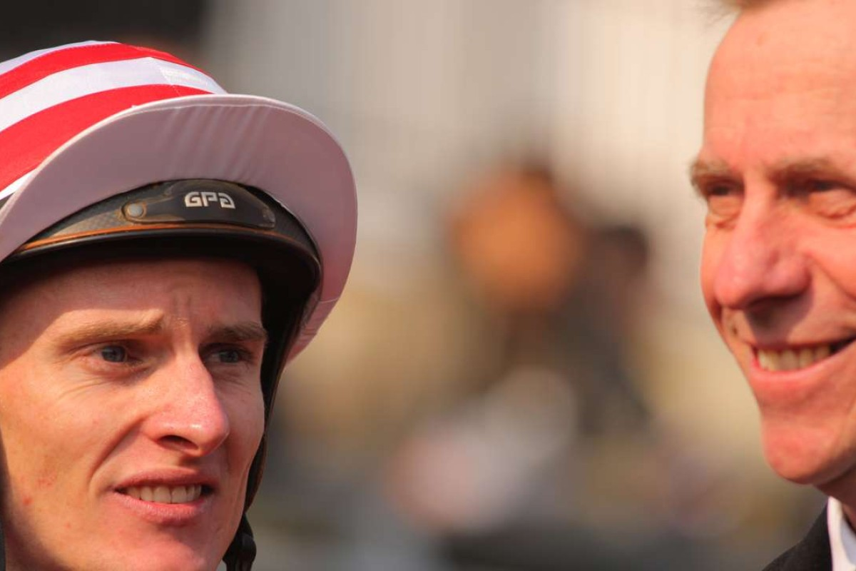 Jockey Zac Purton with trainer John Size. Photos: Kenneth Chan