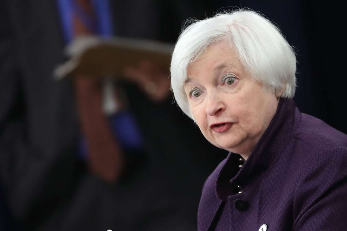 Federal Reserve Board Chairperson Janet Yellen tells the Federal Open Market Committee meeting in Washington last month that the interest rate will remain unchanged for now. Photo: AFP