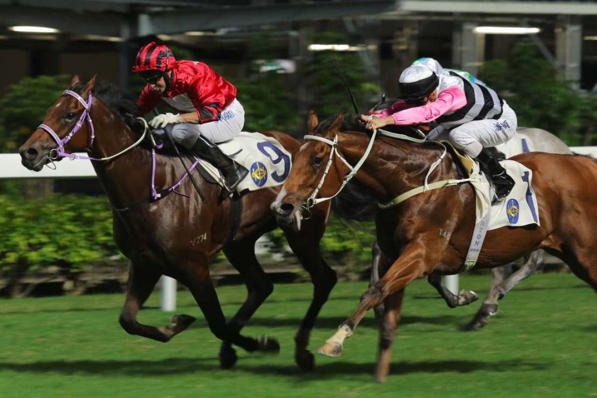 Beauty Connection (right) finishes second to Junzi (left) at Happy Valley on Wednesday night. Photos: Kenneth Chan