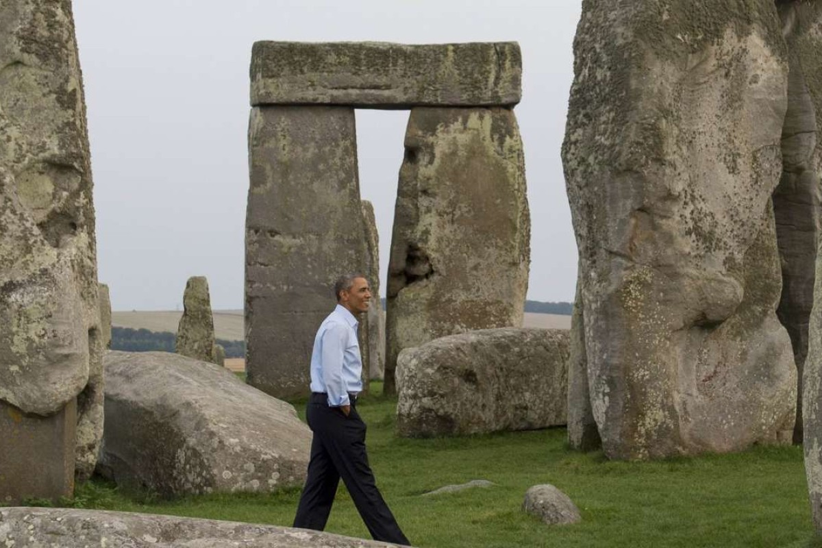 US President Barack Obama ticks Stonehenge off his bucket list in 2014. Picture: AFP
