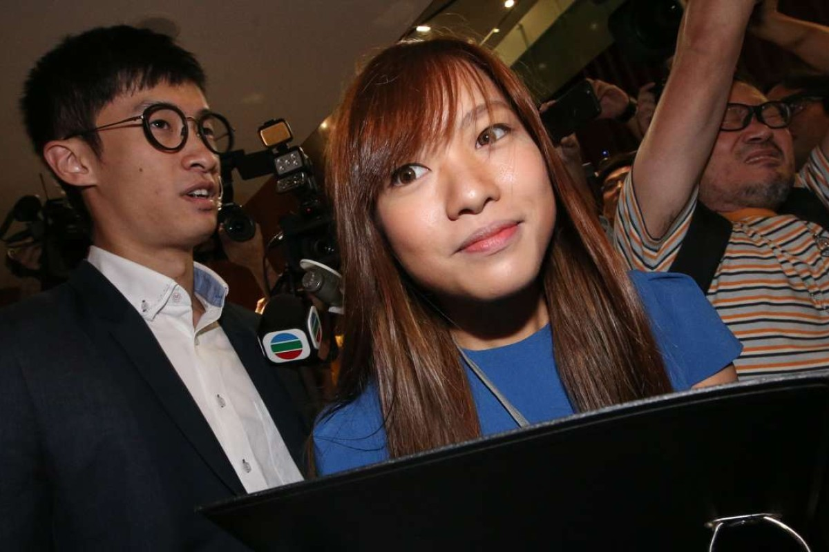 Lawmaker-elects Sixtus Baggio Leung Chung-hang and Yau Wai-ching of Youngspiration at the Legislative Council in Tamar, Hong Kong. Photo: David Wong