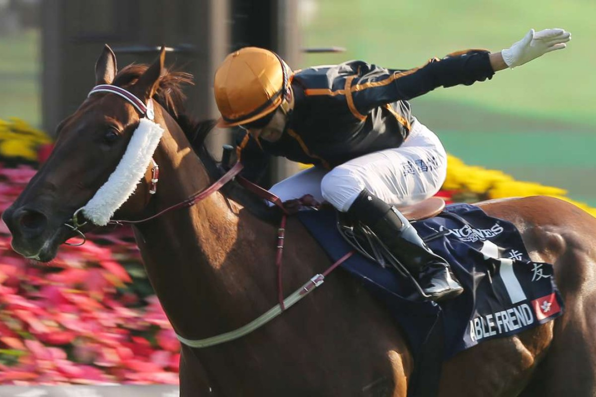 Race 7, Able Friend, ridden by Joao Moreira, won the Hong Kong Mile(group 1, 1600m) at Sha Tin on 14Dec14.