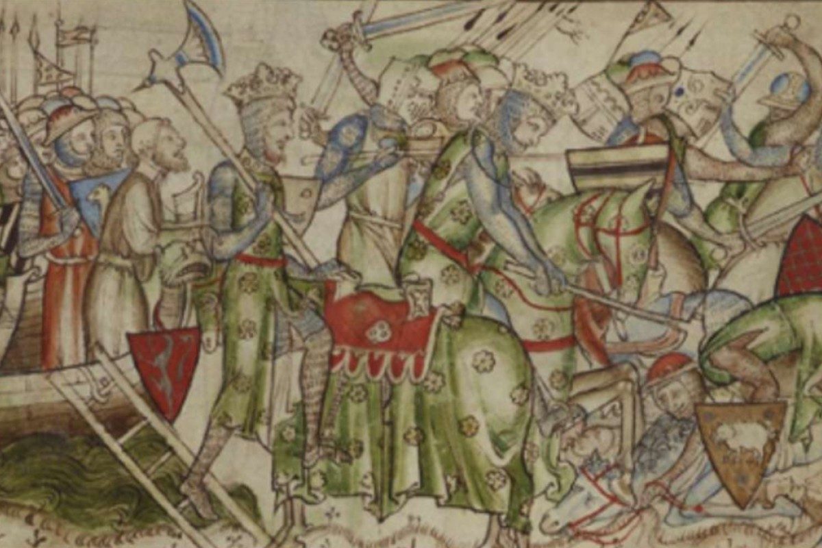 An image from the 13th-century chronicle The Life of King Edward the Confessor shows Harald Hardrada landing near York.