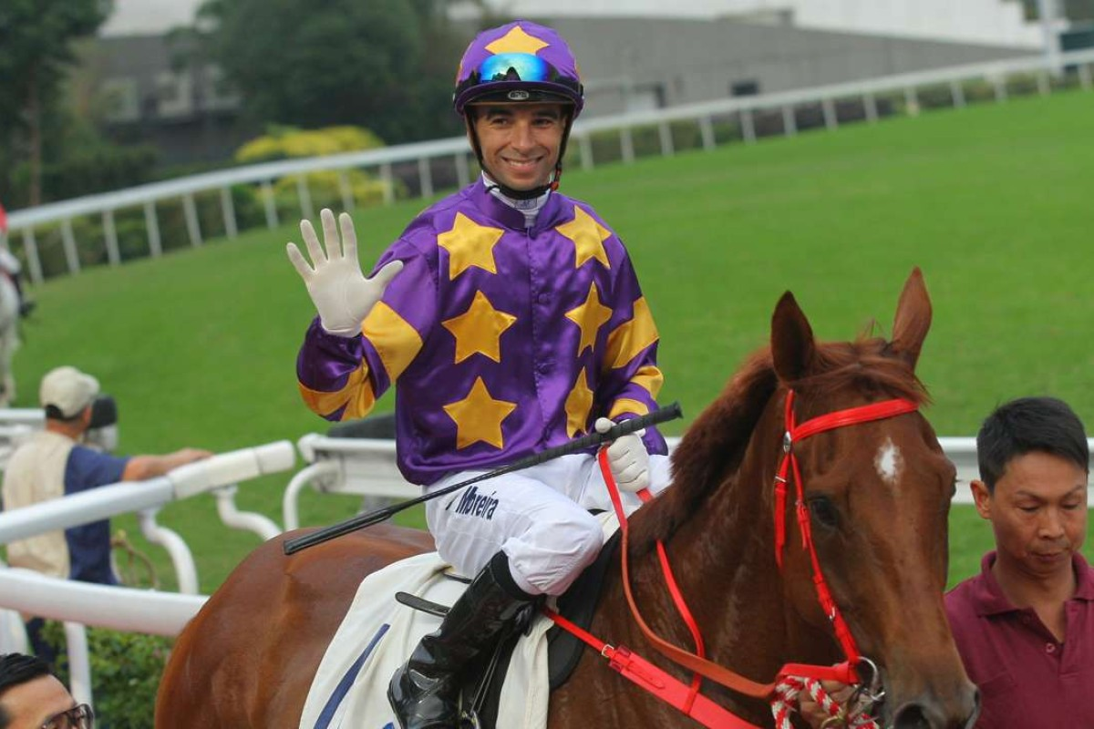 Joao Moreira returns to scale after winning aboard Western Express, one of his five victories at Sha Tin on Saturday. Photos: Kenneth Chan