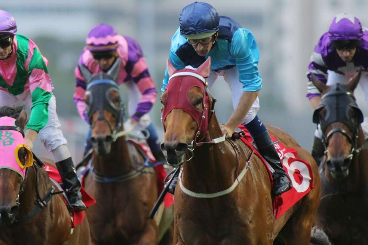 Hugh Bowman guides Not Listenin'tome to victory in the Jockey Club Sprint. Photos: Kenneth Chan