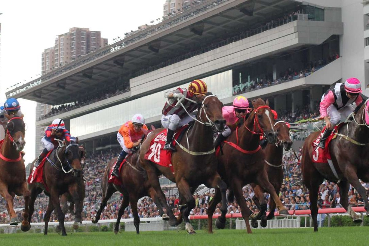 Beauty Only (right) wins the Jockey Club Mile. Photos: Kenneth Chan