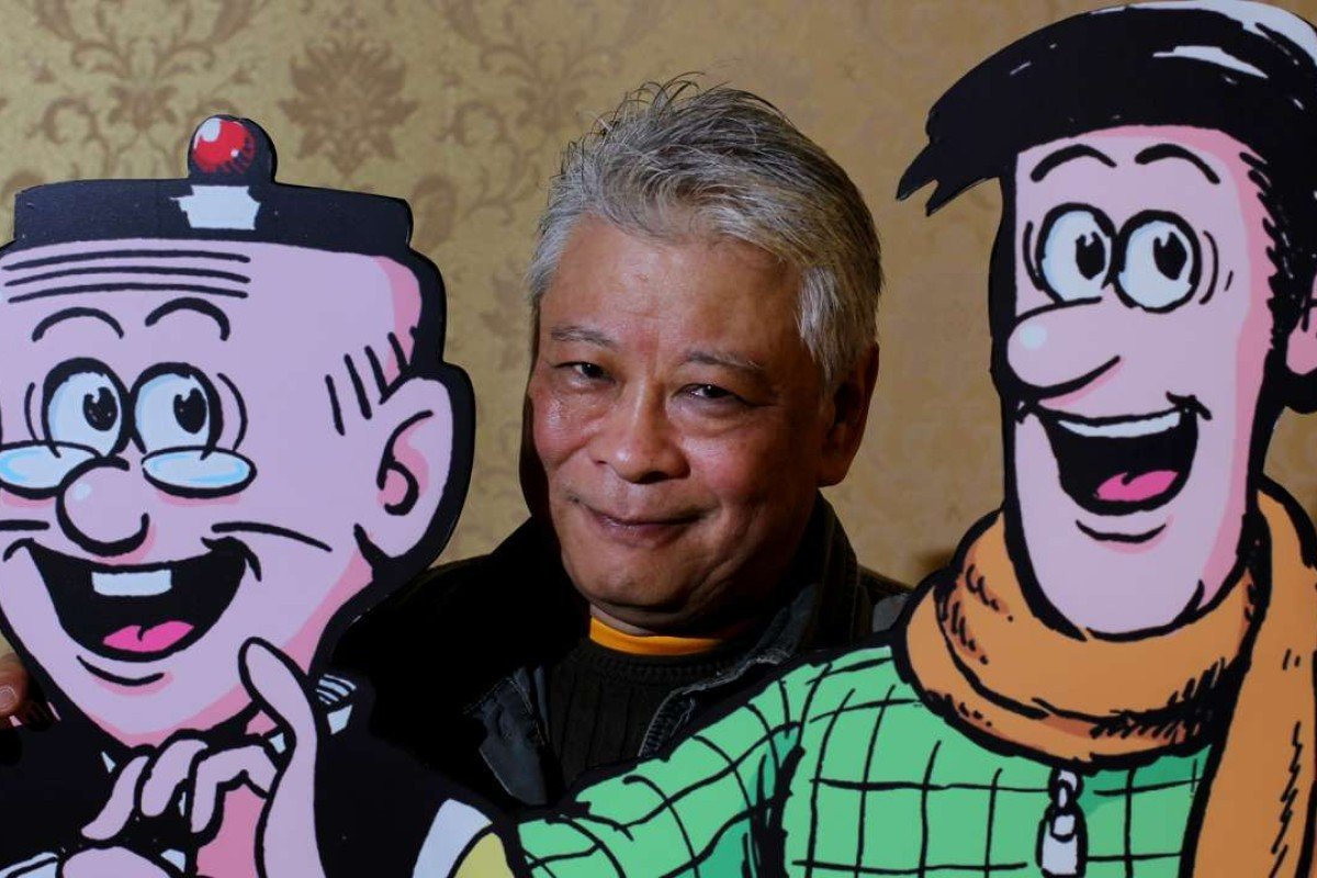 Joseph Wong Chak with Old Master Q's famous characters. Picture: SCMP