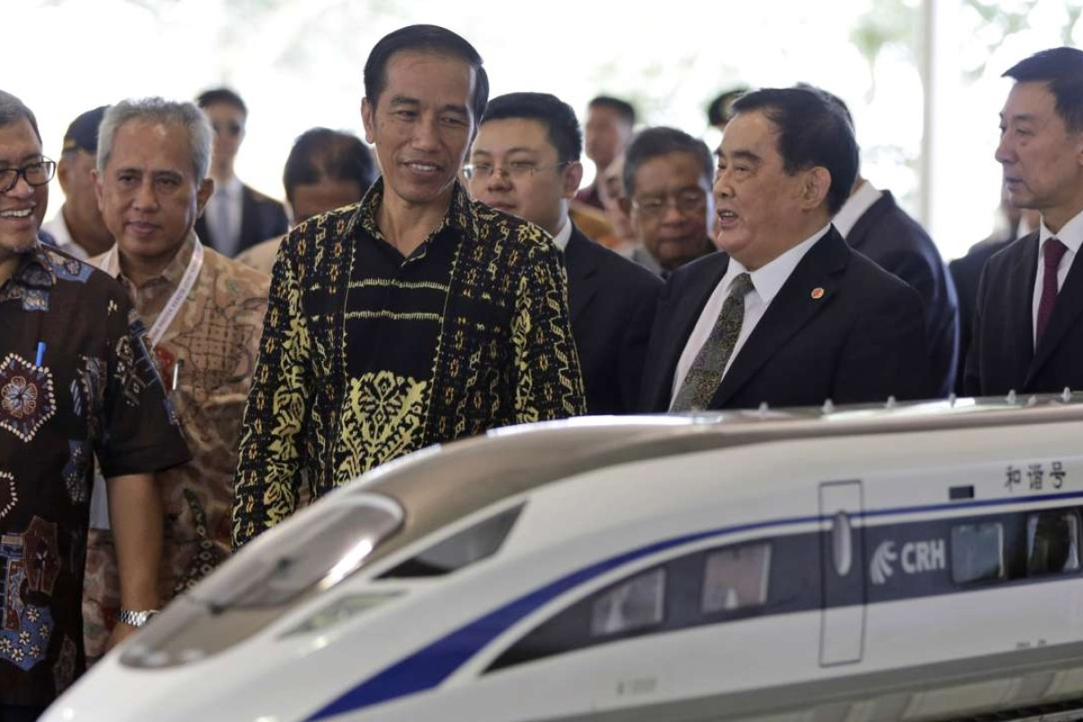 President Joko Widido (second left) at the high-speed rail project's ground-breaking ceremony in January. Photo: AP