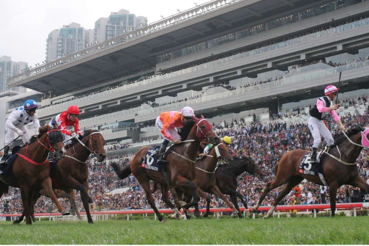 Beauty Only (Zac Purton) proves too strong for Helene Paragon, Joyful Trinity and Contentment in the Hong Kong Mile. Photos: Kenneth Chan