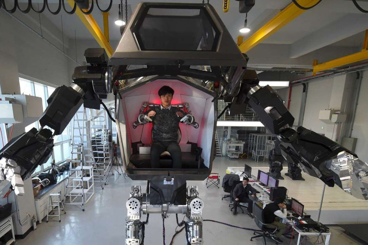 Engineers test the four-metre-tall humanoid manned robot dubbed Method-2 south of Seoul. Photo: AFP / Jung Yeon-Je