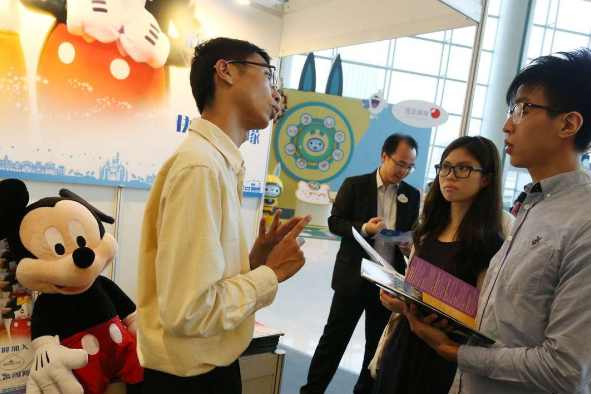 Job seekers attend Jiu Jik Job Fair in Hung Hom. Photo: Dickson Lee