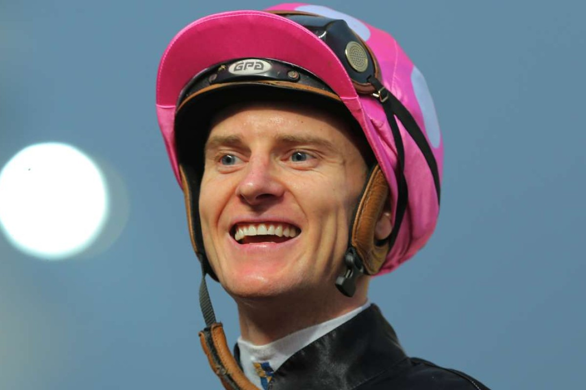 Zac Purton enjoys a big day at the office, collecting a treble at Sha Tin. Photos: Kenneth Chan