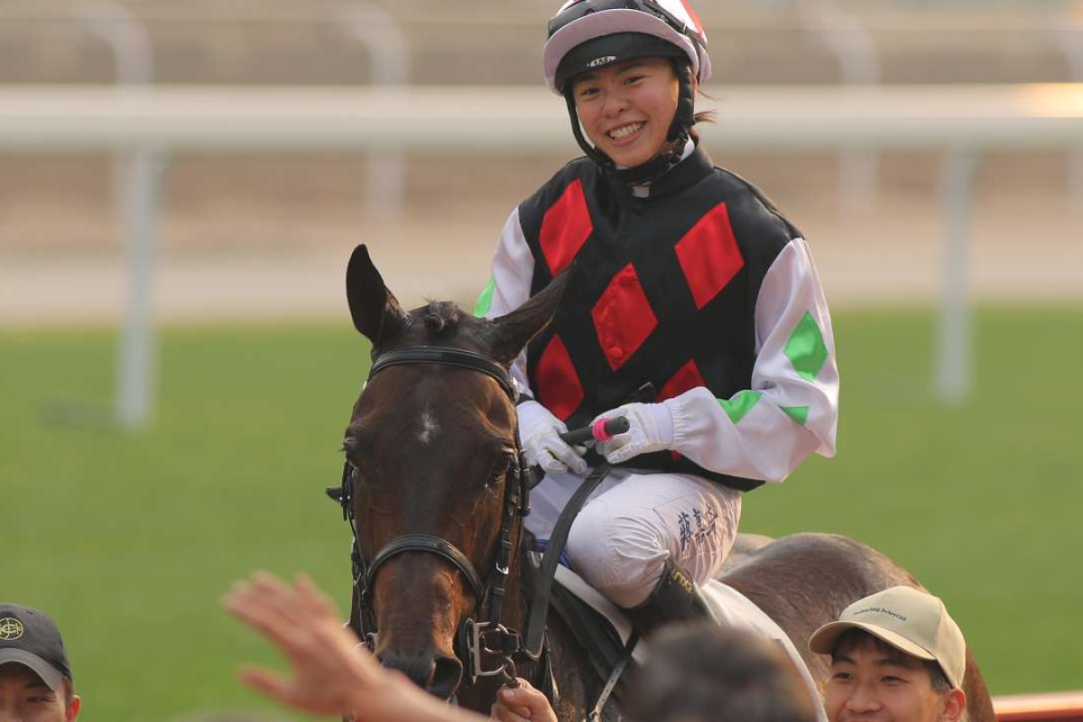 Kei Chiong is all smiles after winning on Five Up High. Photos: Kenneth Chan