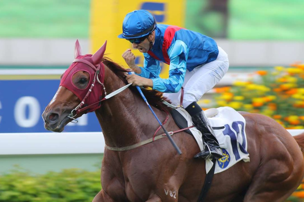 Joao Moreira pumps his first as Rapper Dragon wins the Lion Rock Trophy at Sha Tin in May. Photos: Kenneth Chan