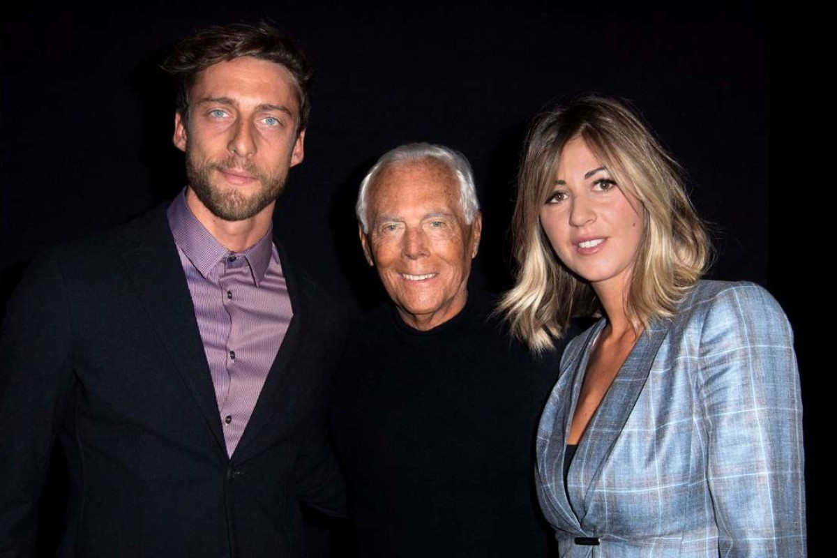Claudio Marchisio, Giorgio Armani and Roberta Sinopoli