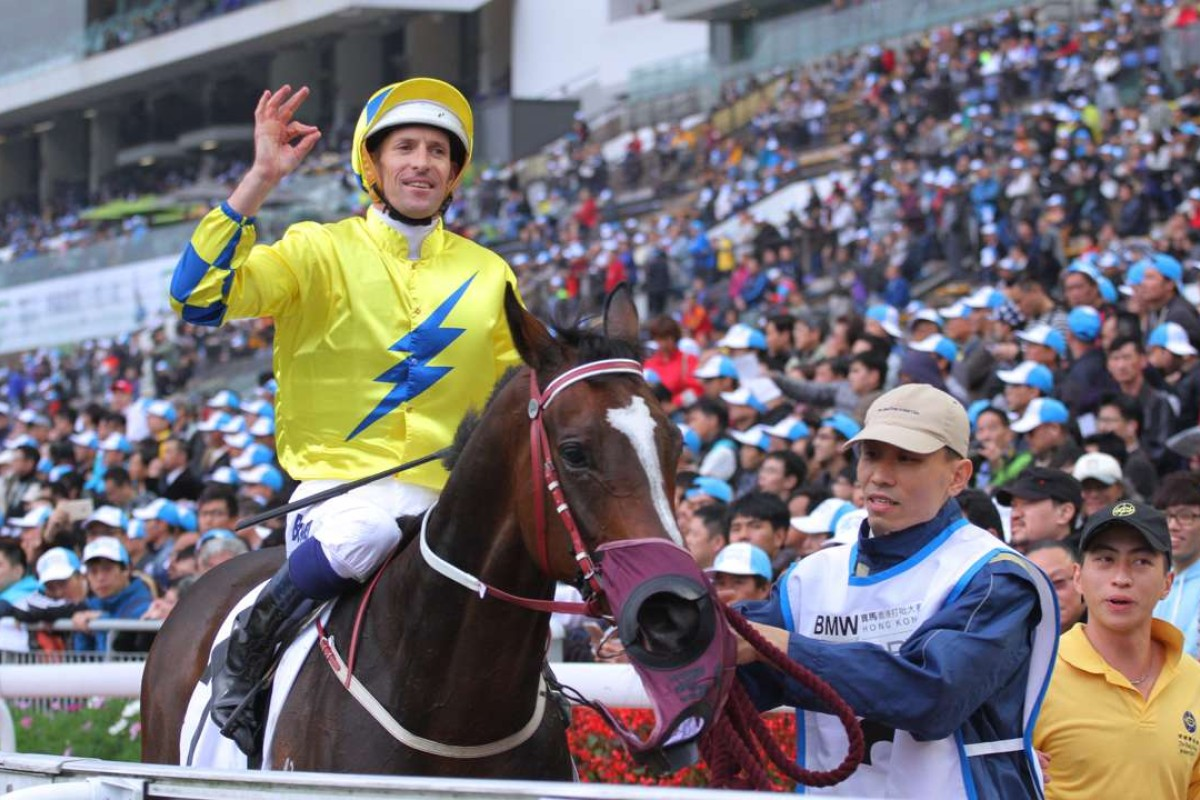 Hugh Bowman celebrates after winning the 2016 Hong Kong Derby with Werther. Photos: Kenneth Chan