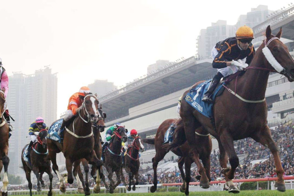 Able Friend, ridden by Joao Moreira, wins the 2015 The Stewards' Cup at Sha Tin. Photo: Kenneth Chan