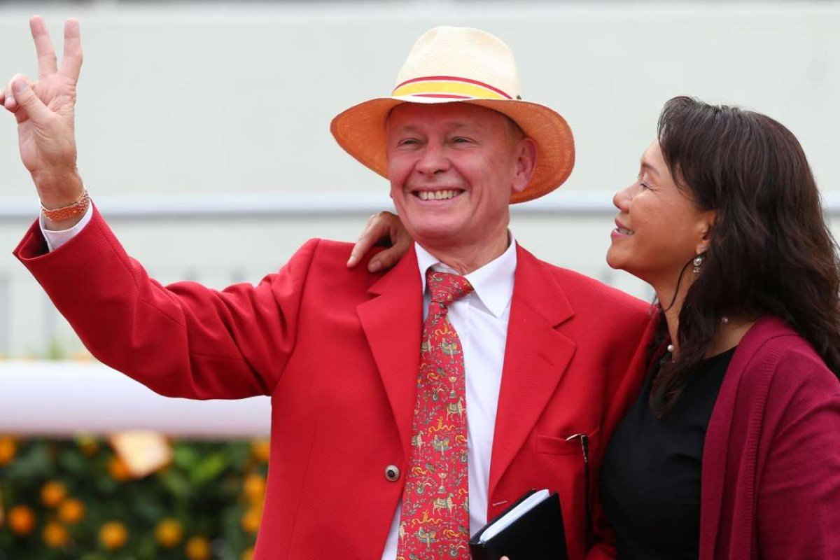 John Moore and his wife Fifi celebrate winning the Group One Stewards' Cup. Photos: Kenneth Chan