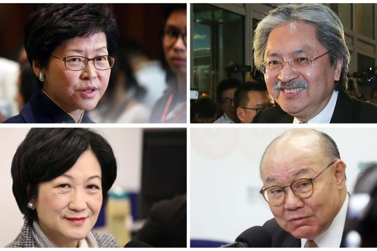 Candidates for Hong Kong's chief executive election in 2017: (clockwise from top left) Carrie Lam Cheng Yuet-ngor, John Tsang Chun-wah, Woo Kwok-hing and Regina Ip Lau Suk-yee. Pictures: SCMP
