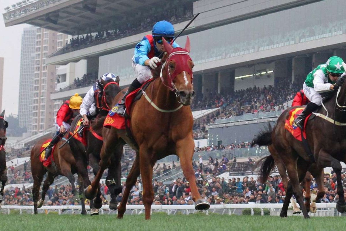 Joao Moreira and Rapper Dragon (blue) take out the Classic Cup. Photos: Kenneth Chan
