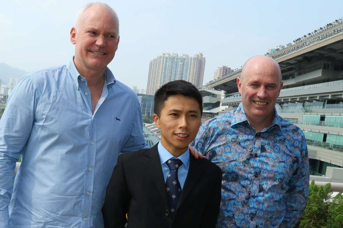 David Hall, Matthew Poon and Richard Jolly pose for photos at Sha Tin. Photos: Kenneth Chan