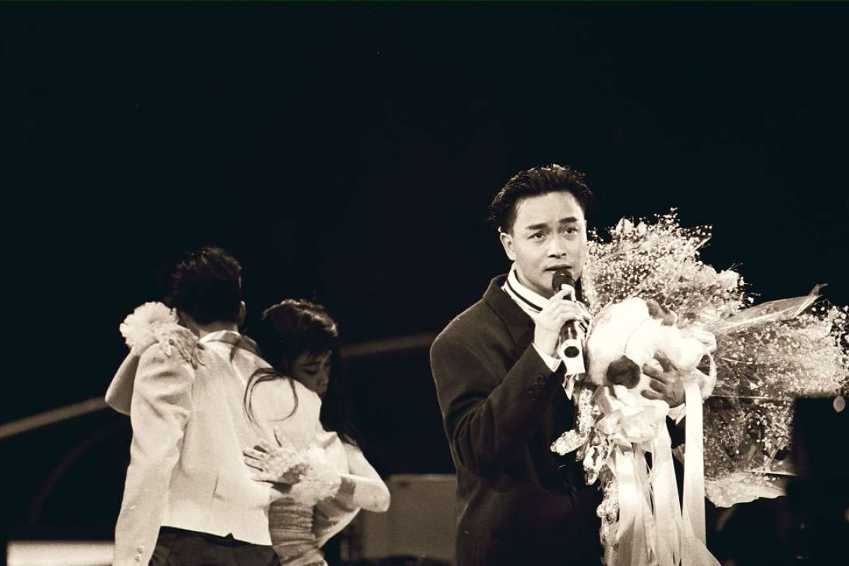Canto-pop singer Leslie Cheung Kwok-wing sings his winning song at the Chinese Gold Songs award presentation ceremony organized by Radio Television Hong Kong at the Hong Kong Coliseum.