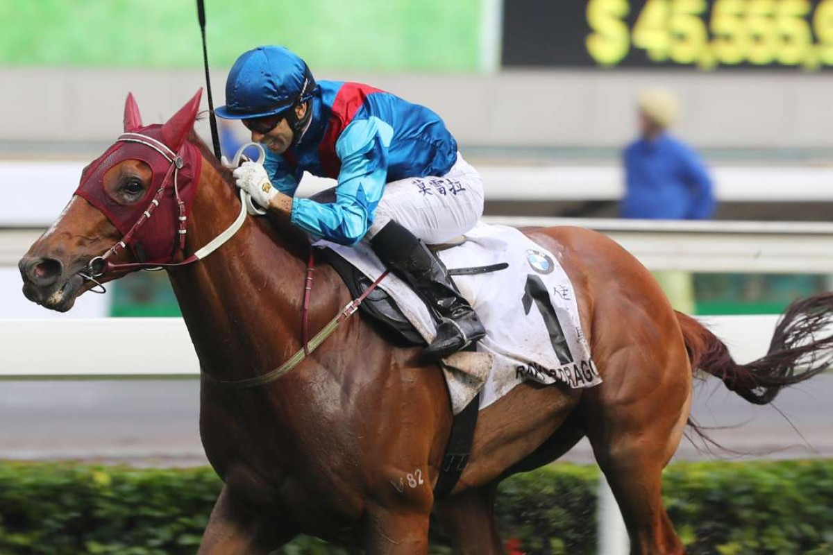 Joao Moreira guides Rapper Dragon to victory in the BMW Hong Kong Derby. Photos: Kenneth Chan